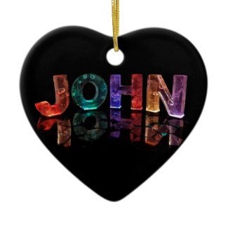The Name John in 3D Lights (Photograph) Christmas Tree Ornaments