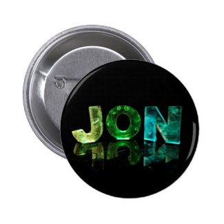 The Name Jon in 3D Lights (Photograph) Pinback Buttons
