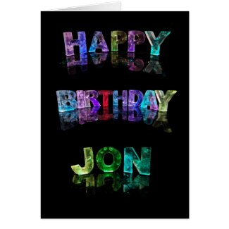 The Name Jon in 3D Lights (Photograph) Card