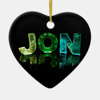 The Name Jon in 3D Lights (Photograph) Ceramic Heart Decoration