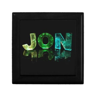 The Name Jon in 3D Lights (Photograph) Jewelry Boxes