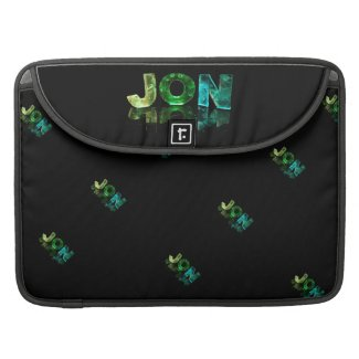 The Name Jon in 3D Lights (Photograph) Sleeves For MacBook Pro