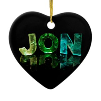 The Name Jon in 3D Lights (Photograph) Christmas Tree Ornament