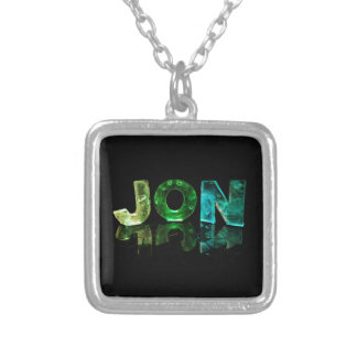 The Name Jon in 3D Lights (Photograph) Square Pendant Necklace