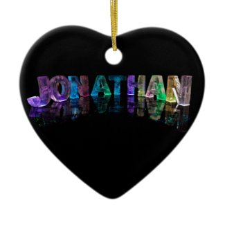 The Name Jonathan in 3D Lights (Photograph) Christmas Ornaments