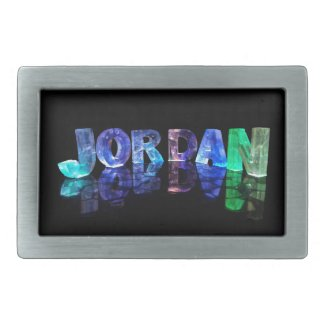 The Name Jordan in 3D Lights (Photograph) Belt Buckles