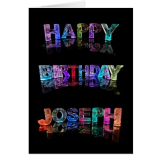 The Name Joseph in 3D Lights (Photograph) Cards