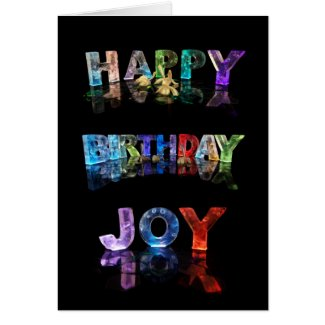 The Name Joy in 3D Lights (Photograph) Cards