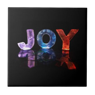 The Name Joy in 3D Lights (Photograph) Ceramic Tiles