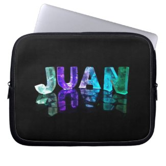 The Name Juan in 3D Lights (Photograph) Laptop Computer Sleeves