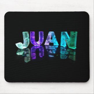 The Name Juan in 3D Lights (Photograph) Mousepads