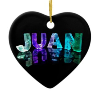 The Name Juan in 3D Lights (Photograph) Christmas Tree Ornament