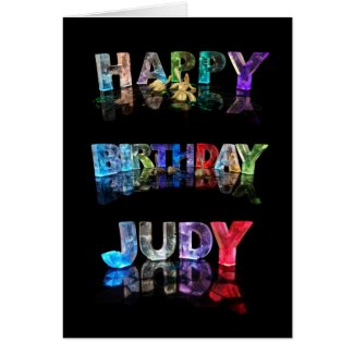 The Name Judy in 3D Lights (Photograph) Cards