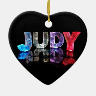 The Name Judy in 3D Lights (Photograph) Ceramic Heart Decoration
