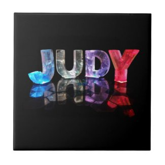 The Name Judy in 3D Lights (Photograph) Ceramic Tile