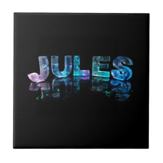 The Name Jules in 3D Lights (Photograph) Ceramic Tiles