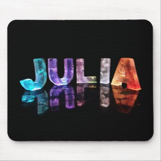 The Name Julia in 3D Lights (Photograph) Mousemat