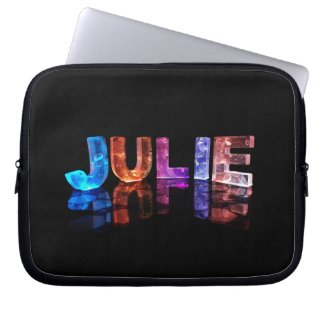 The Name Julie in 3D Lights (Photograph) Laptop Computer Sleeve