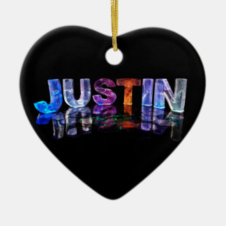 The Name Justin in 3D Lights (Photograph) Christmas Ornament