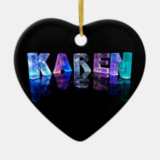 The Name Karen in 3D Lights (Photograph) Ceramic Heart Decoration