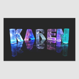 The Name Karen in 3D Lights (Photograph) Rectangular Sticker