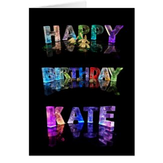 The Name Kate in 3D Lights (Photograph) Card