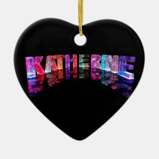 The Name Katherine in 3D Lights (Photograph) Ceramic Heart Decoration