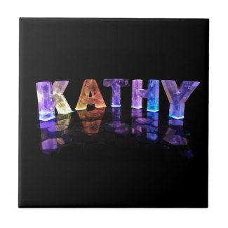 The Name Kathy in 3D Lights (Photograph) Tile