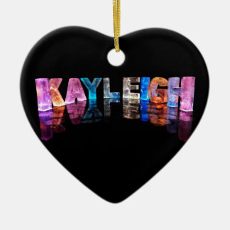 The Name Kayleigh in 3D Lights (Photograph) Ceramic Heart Decoration