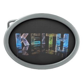The Name Keith in 3D Lights (Photograph) Oval Belt Buckle