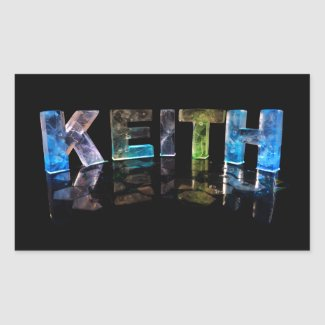The Name Keith in 3D Lights (Photograph) Rectangle Stickers