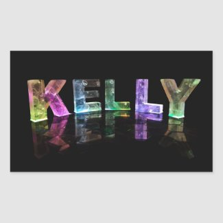 The Name Kelly in 3D Lights (Photograph) Rectangular Stickers