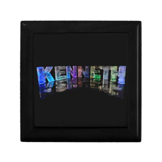 The Name Kenneth in 3D Lights (Photograph) Jewelry Box