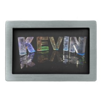 The Name Kevin in 3D Lights (Photograph) Rectangular Belt Buckle