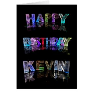 The Name Kevin in 3D Lights (Photograph) Greeting Cards