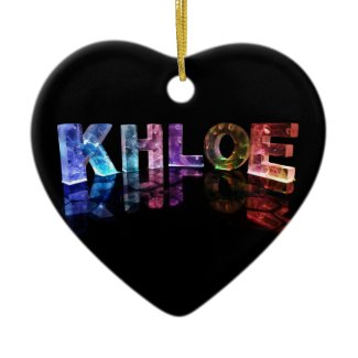 The Name Khloe in 3D Lights (Photograph) Ornament