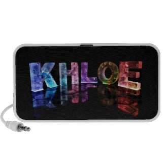 The Name Khloe in 3D Lights (Photograph) Portable Speaker