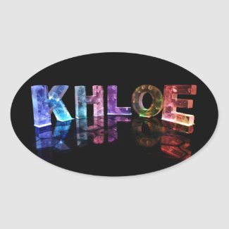 The Name Khloe in 3D Lights (Photograph) Oval Stickers