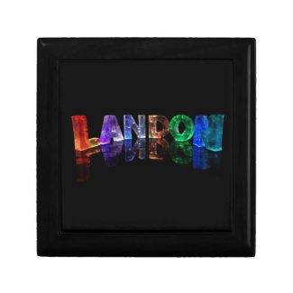 The Name Landon in 3D Lights (Photograph) Keepsake Box