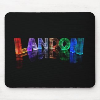 The Name Landon in 3D Lights (Photograph) Mousemat