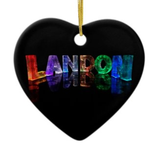 The Name Landon in 3D Lights (Photograph) Ornament