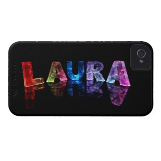 The Name Laura in 3D Lights (Photograph) Case-Mate iPhone 4 Case