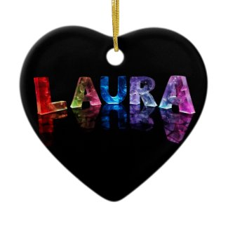 The Name Laura in 3D Lights (Photograph) Christmas Ornament
