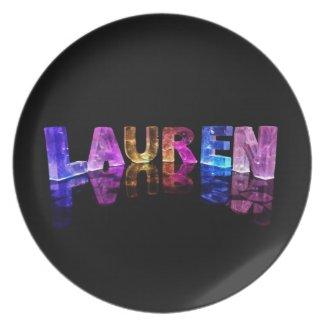 The Name Lauren in 3D Lights (Photograph) Dinner Plates