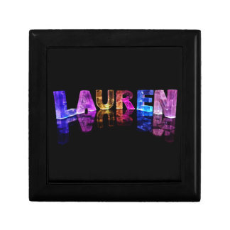 The Name Lauren in 3D Lights (Photograph) Small Square Gift Box