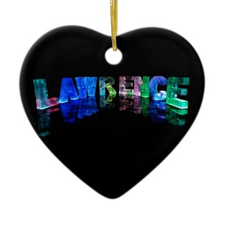 The Name Lawrence in 3D Lights (Photograph) Christmas Tree Ornaments