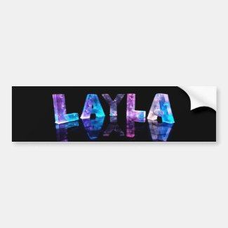 The Name Layla in 3D Lights (Photograph) Bumper Stickers