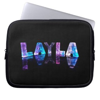 The Name Layla in 3D Lights (Photograph) Laptop Computer Sleeve