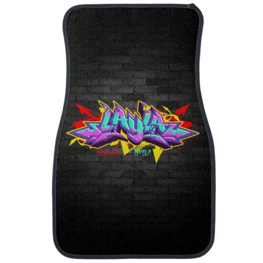 The name Layla in graffiti Floor Mat