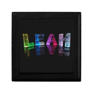 The Name Leah in 3D Lights (Photograph) Jewelry Box